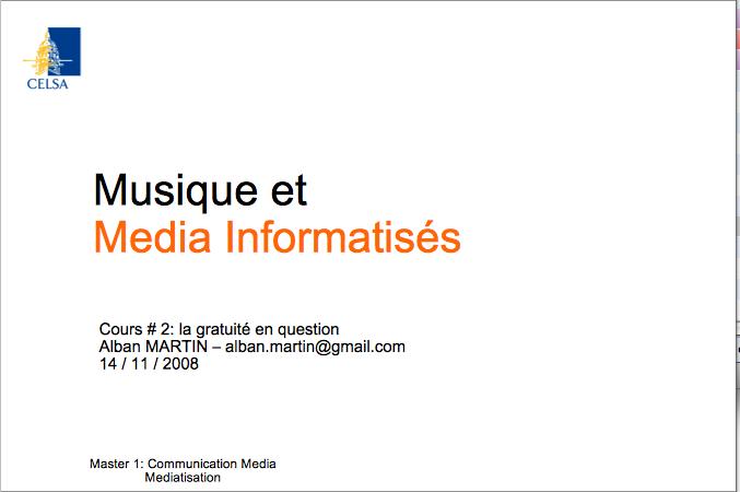 celsa cours musique et droits et marketing, musique et média informatisé