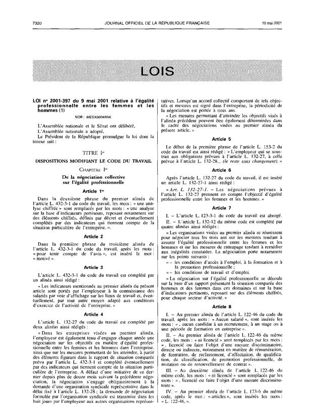 loi no 2001-397 du 9 mai 2001-1